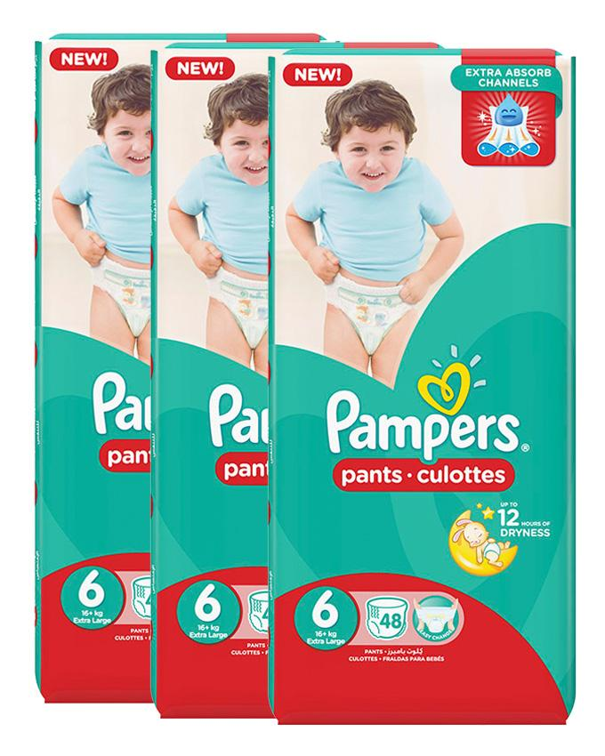 Pampers Pack of 3 Baby Dry Diapers Pants Size 6, 48 Count