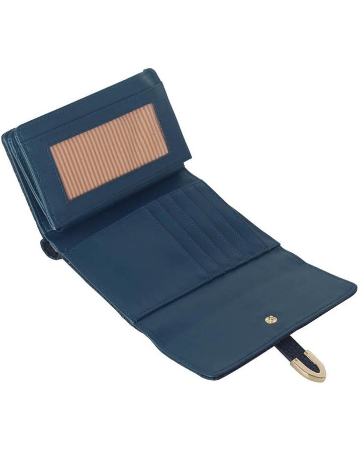 Navy Flap Top Purse Wallet For Women - LSP1075