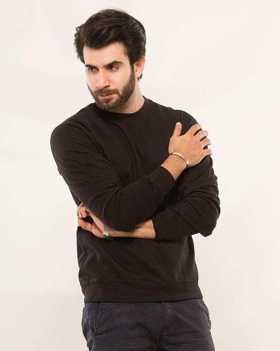 Black Fleece Sweat Shirt For Men
