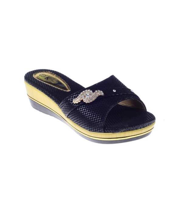 Black Imported Synthetic Leather Glittery Fashion Wedge for Women - QQ191