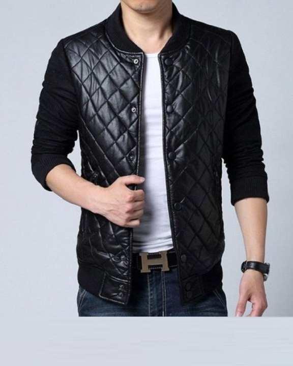 Quilted Black Leather Jacket For Men