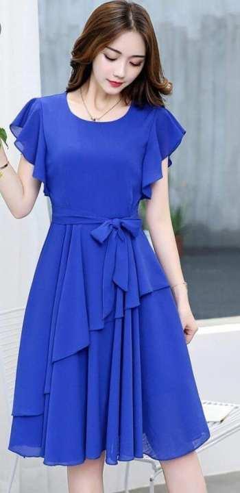 BRANDSTITCH - Royal Blue Chiffon Western Tunic For Women