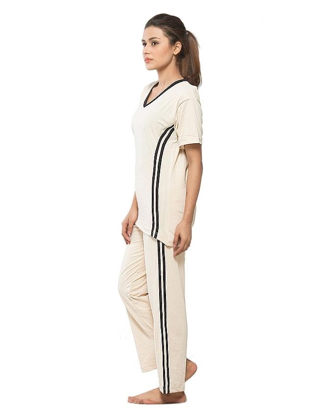 Cream Cotton Nightwear for Women - GOL-CTS-017