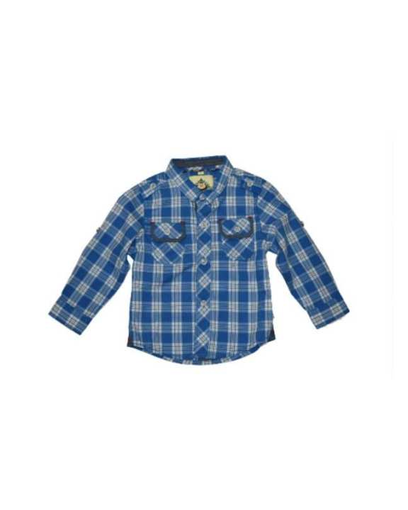 Blue Cotton Check Shirt For Boys