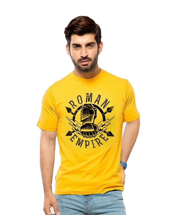 2c85608a2d10e9 Yellow Cotton Roman Reigns Printed T Shirt For Men