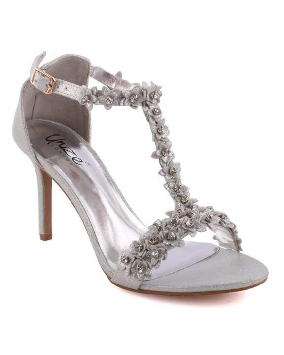 Silver Women 'Carzrose' Decorated T-Bar Strap Evening Sandals L28772