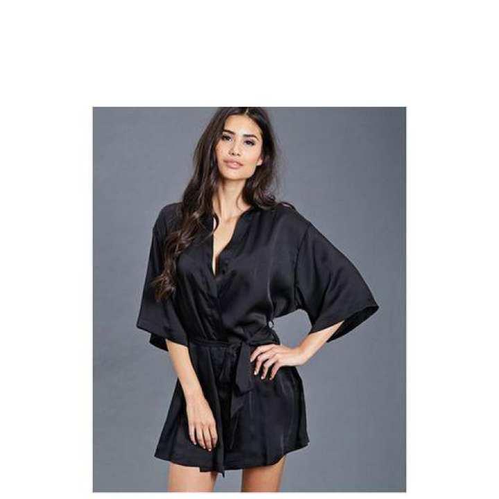 Black Polyester Silk Satin Nightgown for Women
