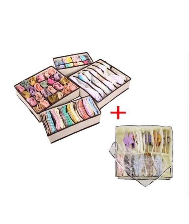 4PCS Foldable Storage Box Underwear Bra Drawer