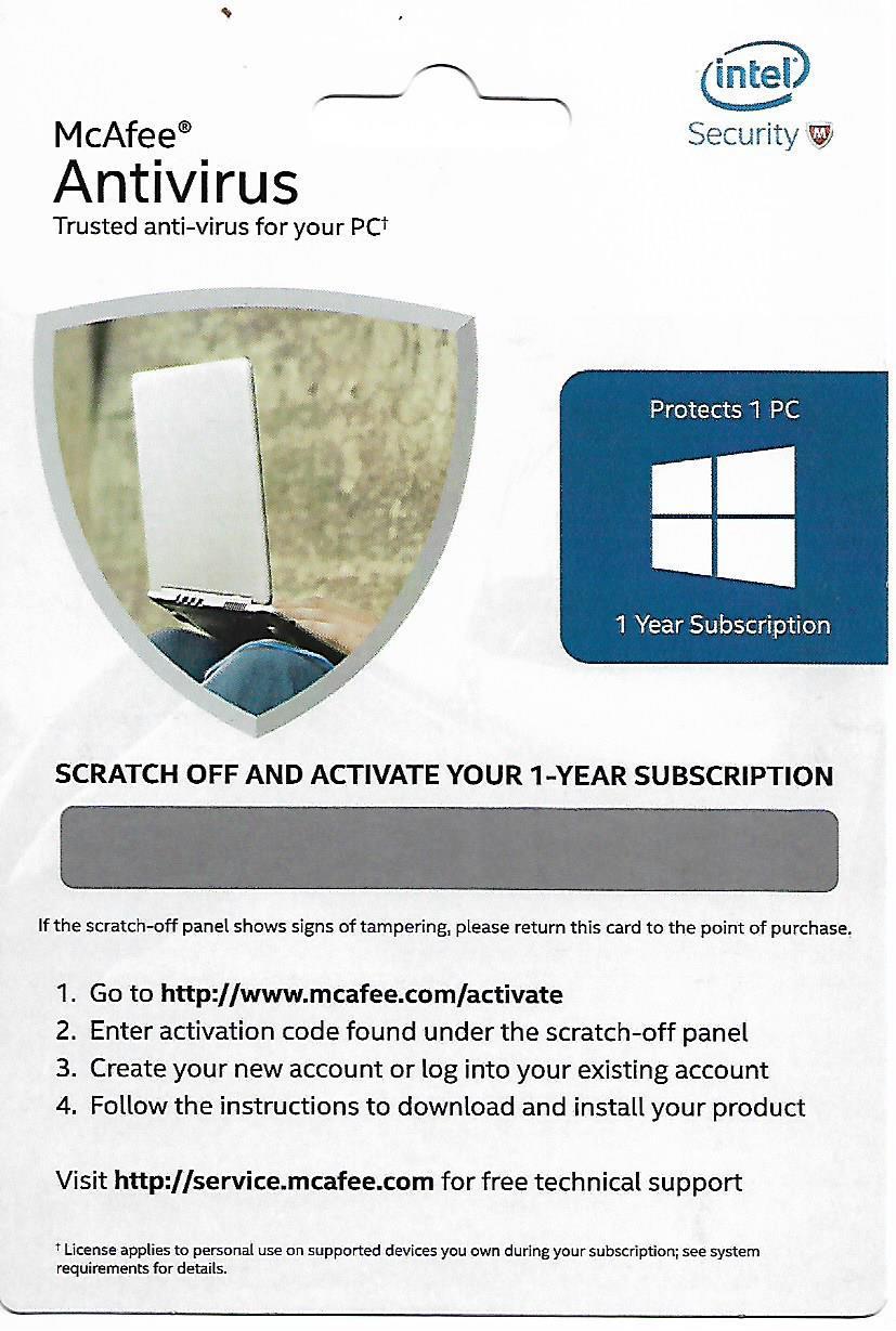 McAfee Antivirus Activation Key Card 1 PC
