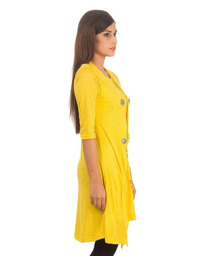Yellow Viscose Shrug Style Top For Women