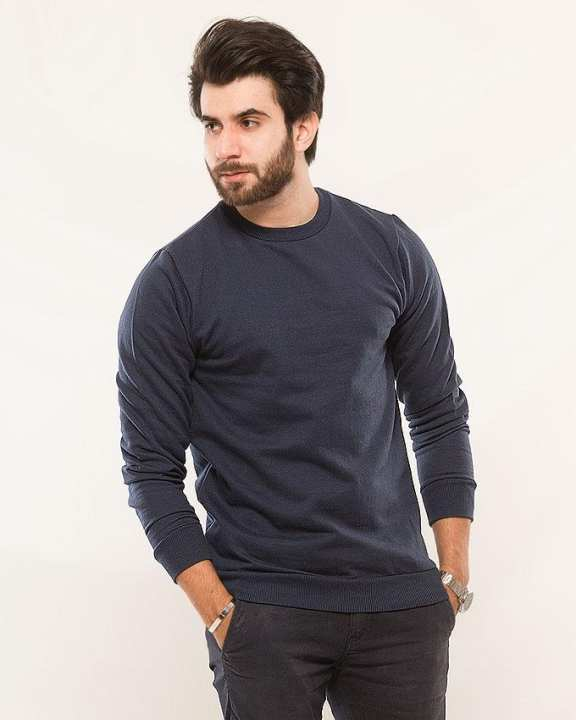 Navy Blue Fleece Sweat Shirt For Men