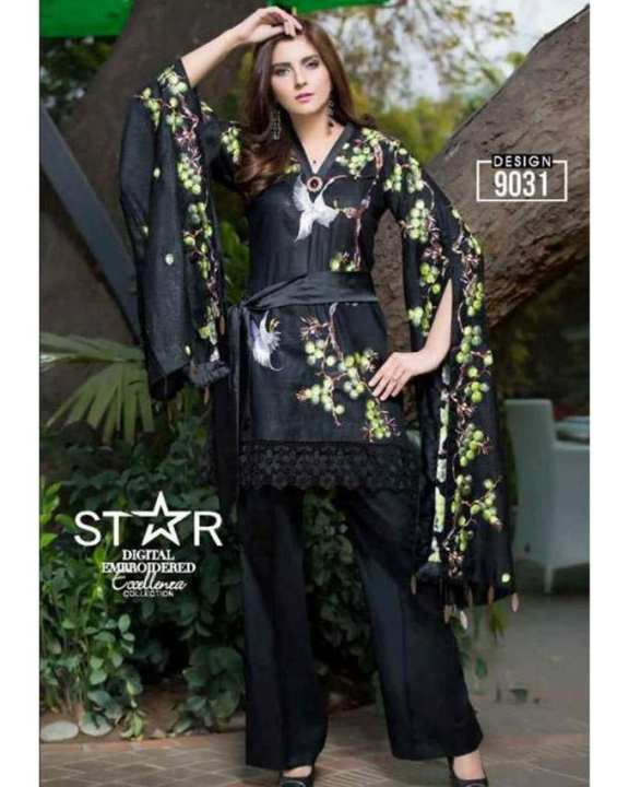 Black Embroidered Lawn Unstitched Suit for Women 3 Pcs 9031