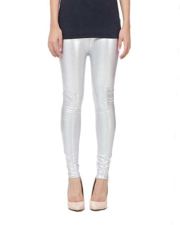 Metallic Sliver Viscose Tights For Women