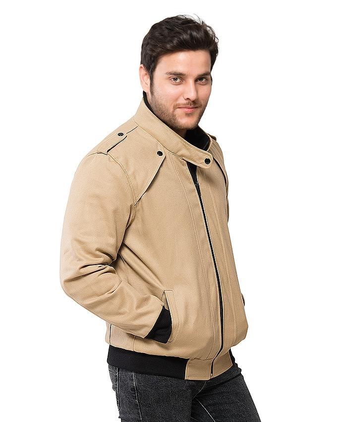 Khaki Brown Cotton Jacket For Men