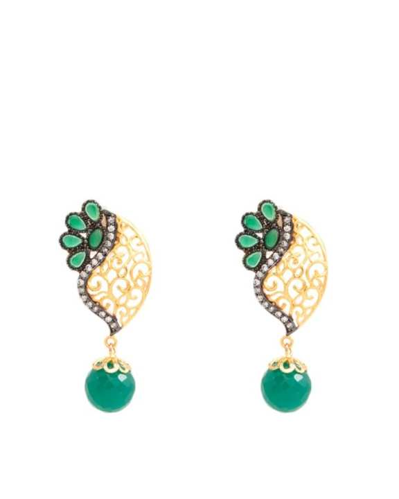 Golden Earrings with Green Stones and Droppers