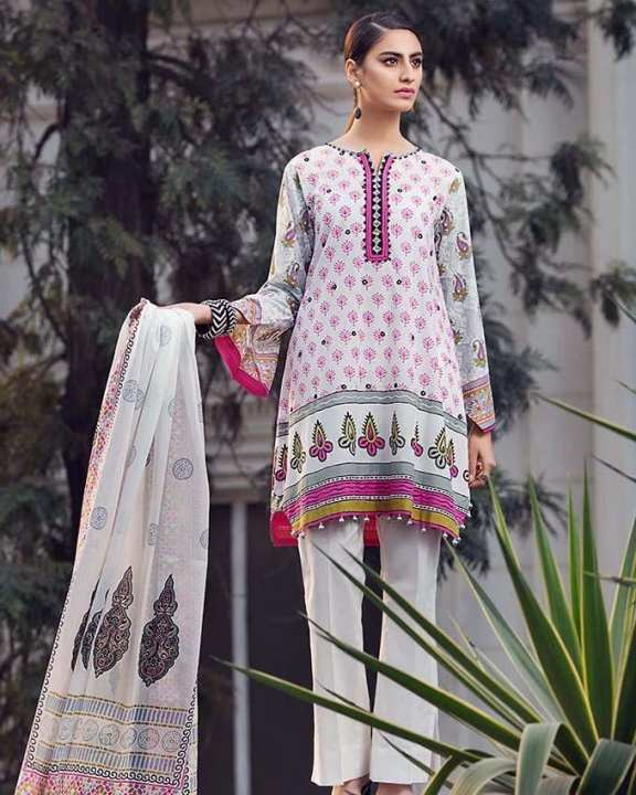 Gul Ahmed - Pink 2Pcs Printed(D/S) with Embroidered Front-Unstitched -  TL-113-158587
