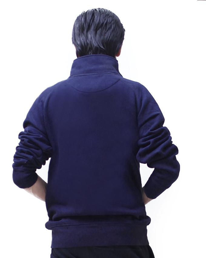 Navy Blue Fleece Jacket For Men