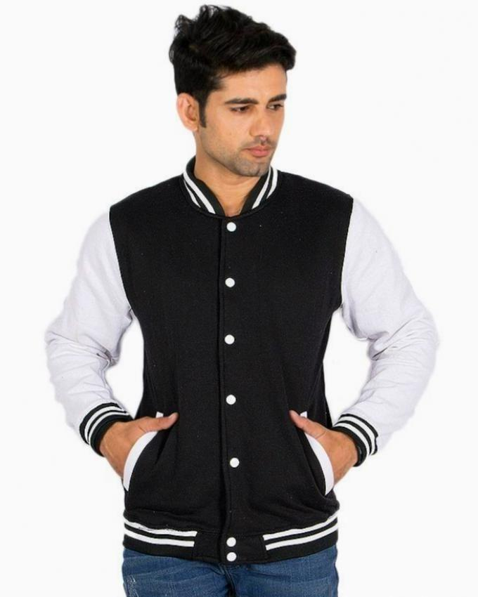 Black Fleece Baseball Jacket for Men