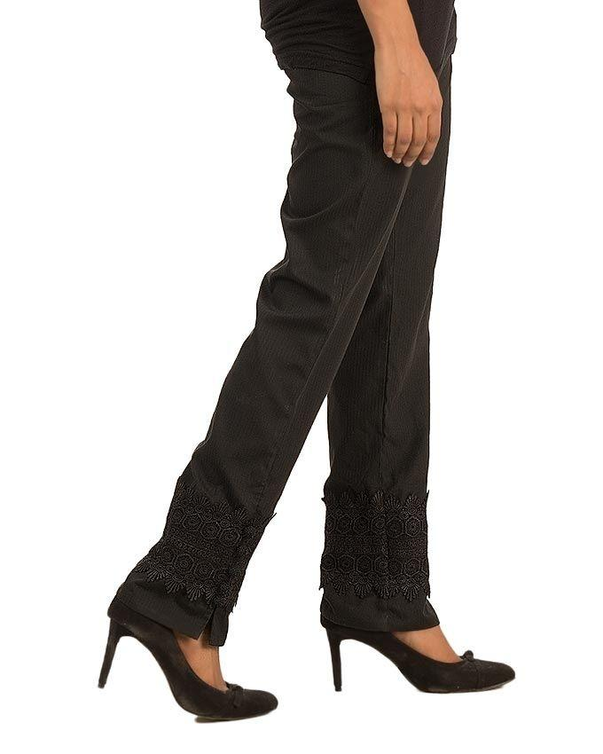 Black Cotton Straight Pants with Lace Bottom & Pockets for Women