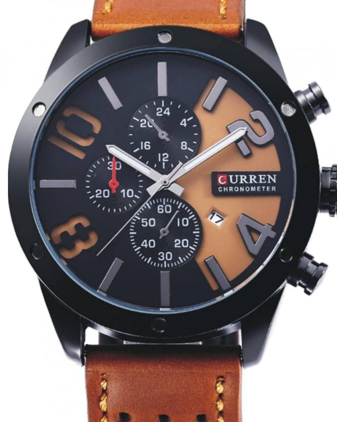 8243 - Black & Brown Leather Analog Watch for Men
