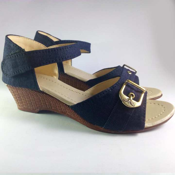 Ankle Strap Mid Heel Shoes Blue
