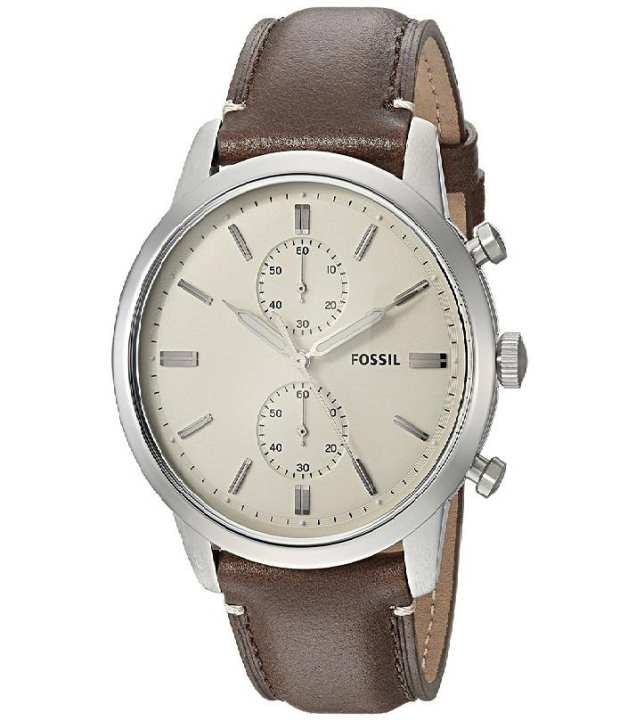 Fossil Townsman Cream and Brown Leather and Metal Analog Watch for Men - FS-5350