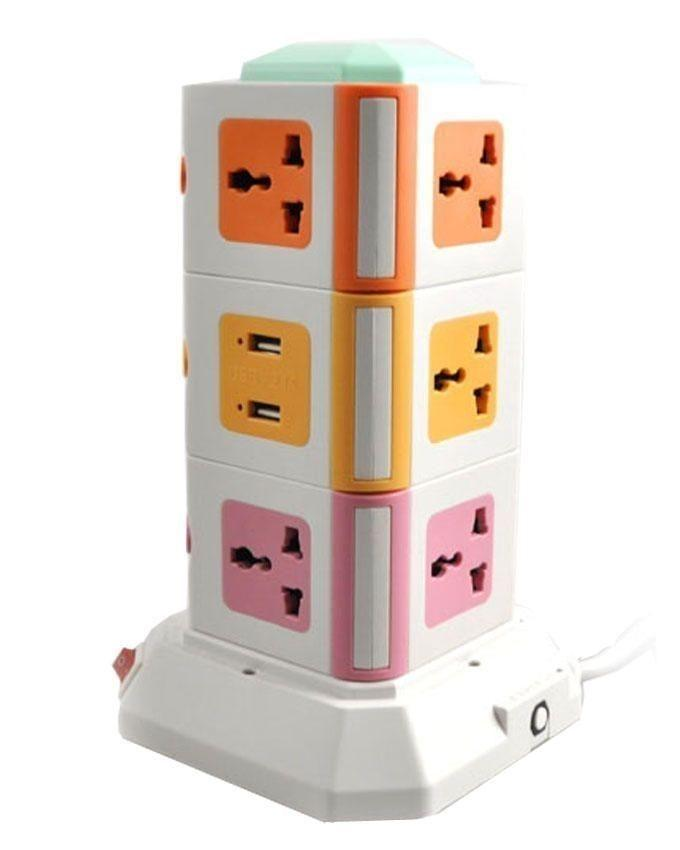 Vertical Secure Power Sockets with USB Port - Multi Color