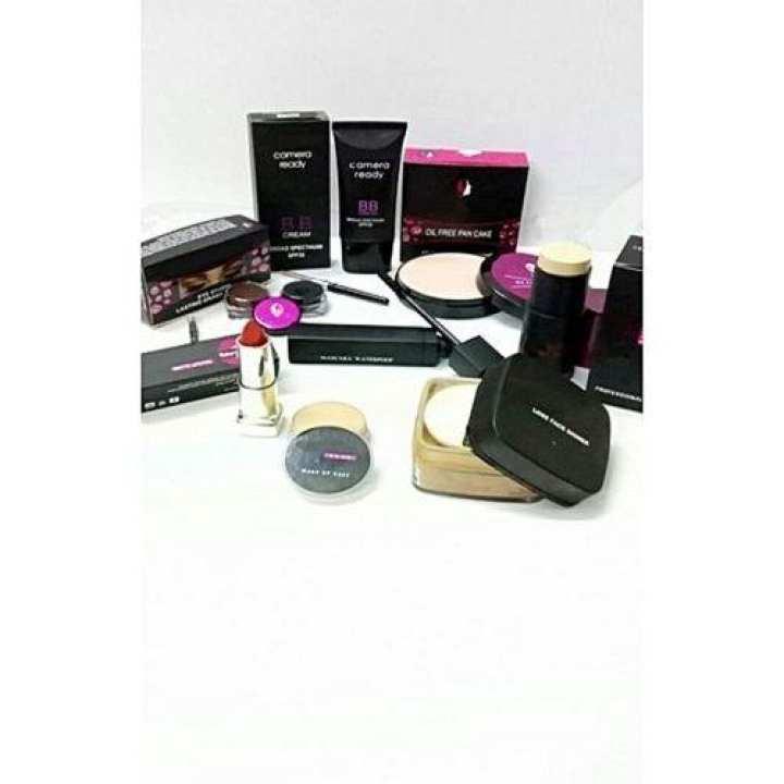 Bundle Of 8 - Lipstick+ Bb Cream + Mascara + Pancake + 2In1 Gel Liner + Paint Stick + Loose Shiner + Quarter Wet Base
