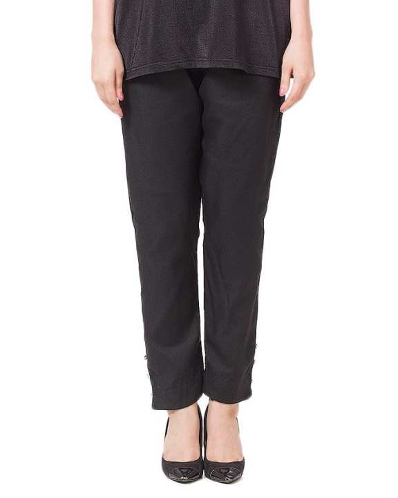 Black Cotton Cigarette Pants For Women