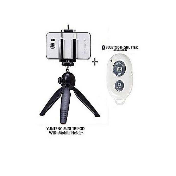 Mini Tripod With Bluetooth Shutter And Mobile Holder for iphone and android mobile