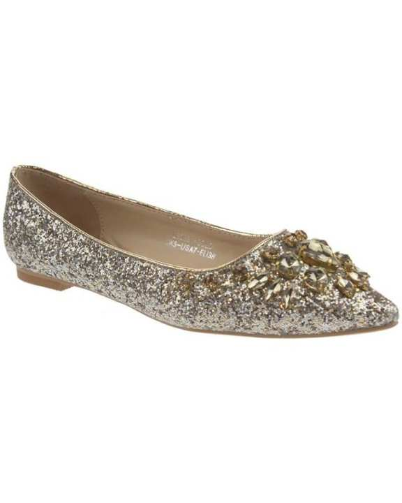 "Gold PU Women ""IRINA"" Glitter Kitten Heels Closed Slip On Court Shoes L30361"