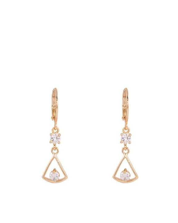 Golden Triangular-Shaped Zircon Studded Earrings
