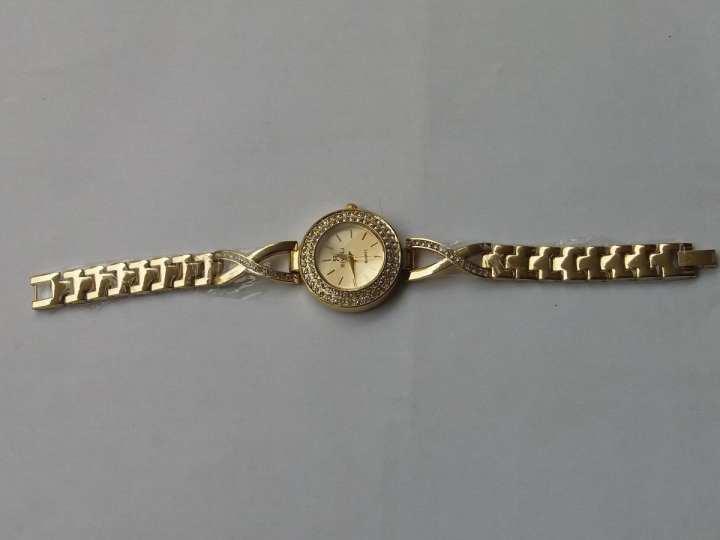 Golden Beautiful Rivoli Bracelet Watch For Ladies/Girls