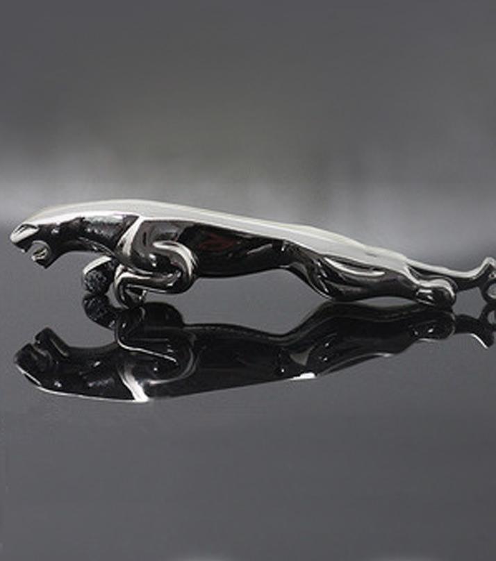 Jaguar 3D Metal Keychain   Silver