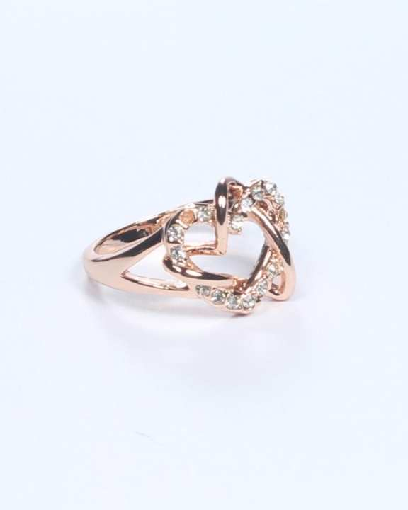 Gold Plated on Alloy Crossed Double Heart Ring