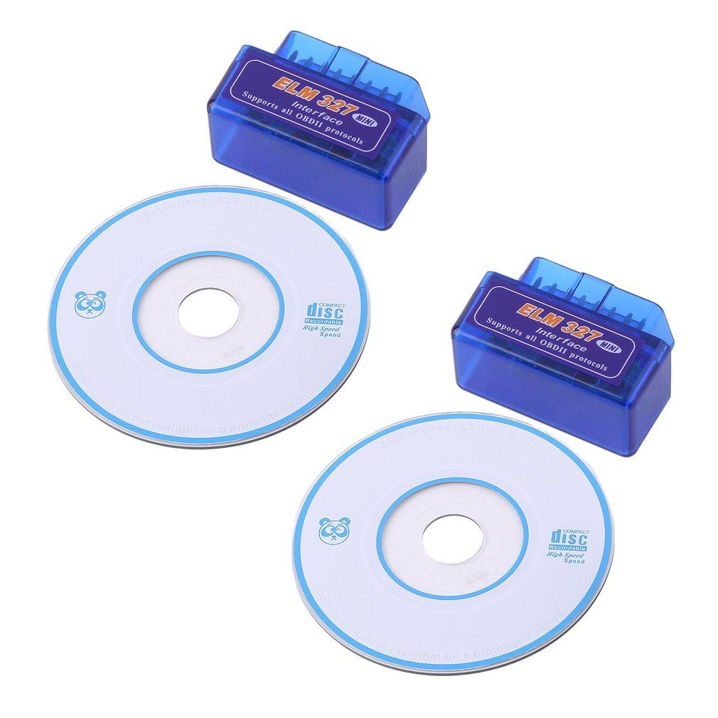 2pcs/set Mini ELM327 V2.1 OBD2 II Bluetooth Auto Scanner Diagnostic Tool Blue