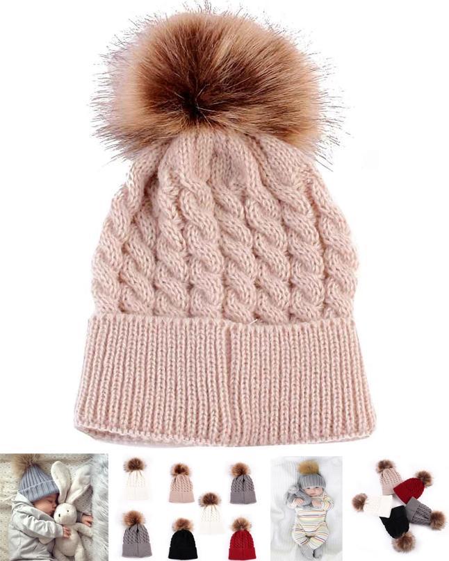 Cute Winter Kids Baby Hats Knitted Wool - Beige