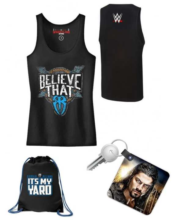 Pack of 3 Roman Reigns Combo - Keychain Drawstring Bag and Gym Vest for Him