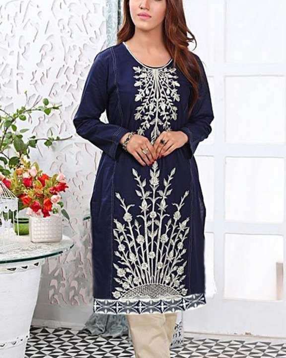 Blue Cotton Zilver Tilla Embroidery Stitch Kurti For Woman Skm10005