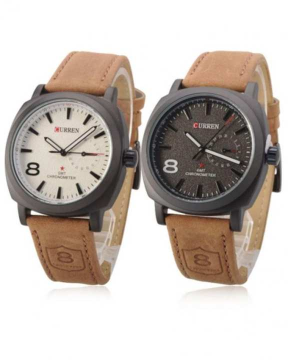 Pack of 2 - Brown Leather Strap Watch for Men