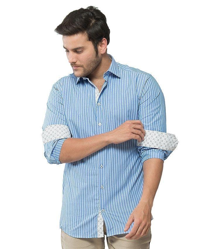 ACLIPSE - Blue & White Cotton Striped Shirt for Men