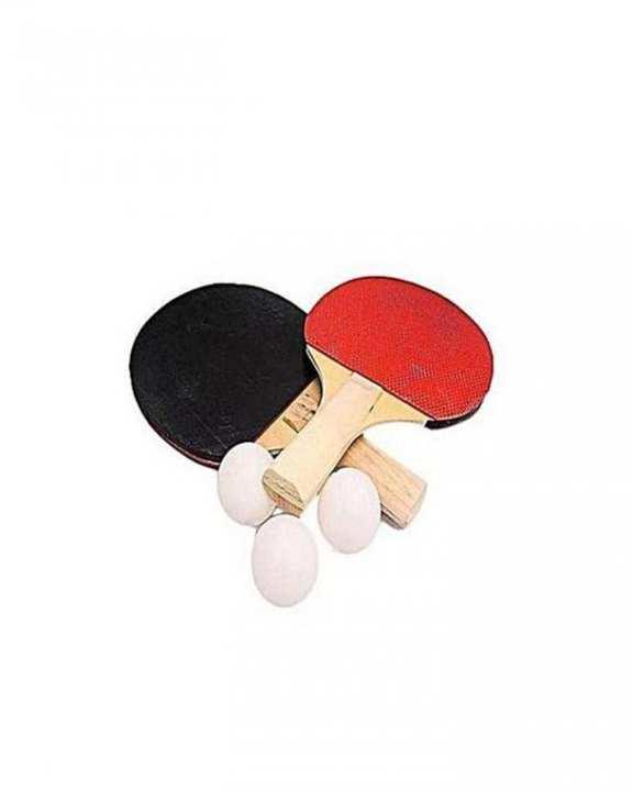 Set Of Table Tennis Racket & Balls - Red & Black