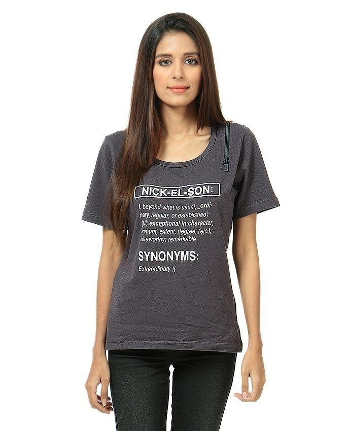 Grey Cotton Printed T-Shirt For Women baccfabe26