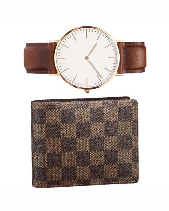 Attractive Leather Strap Watch with Ches Wallet  - Soz-265 - Soz-265