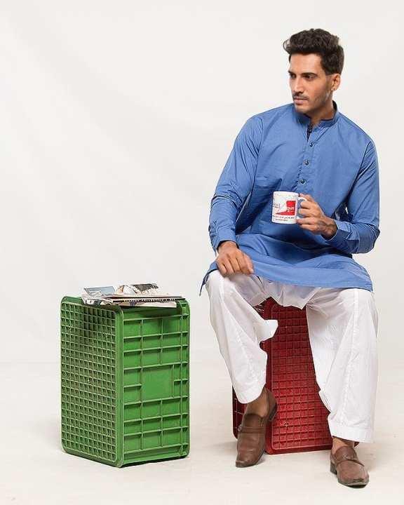 Royal Blue Cotton Kurta for Men