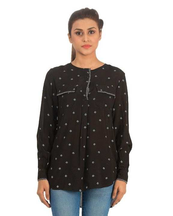 Black Linen Printed Tunic with Front Pockets & Full Sleeves for Women - Loose-fit