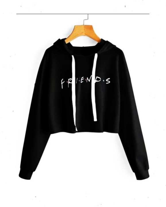 Black Friends Crop Hoodie For Women