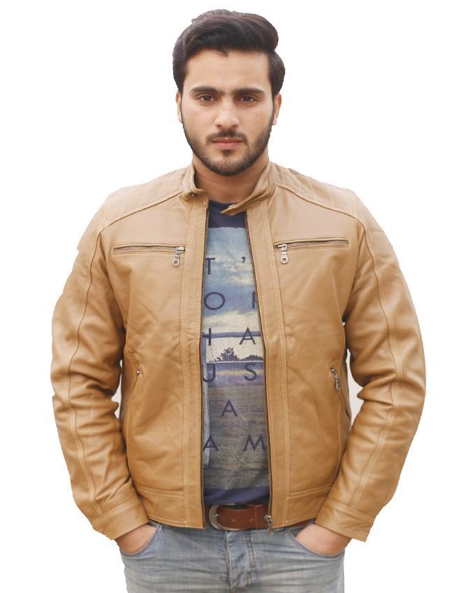 Camel Brown Sheep Leather Jacket For Men