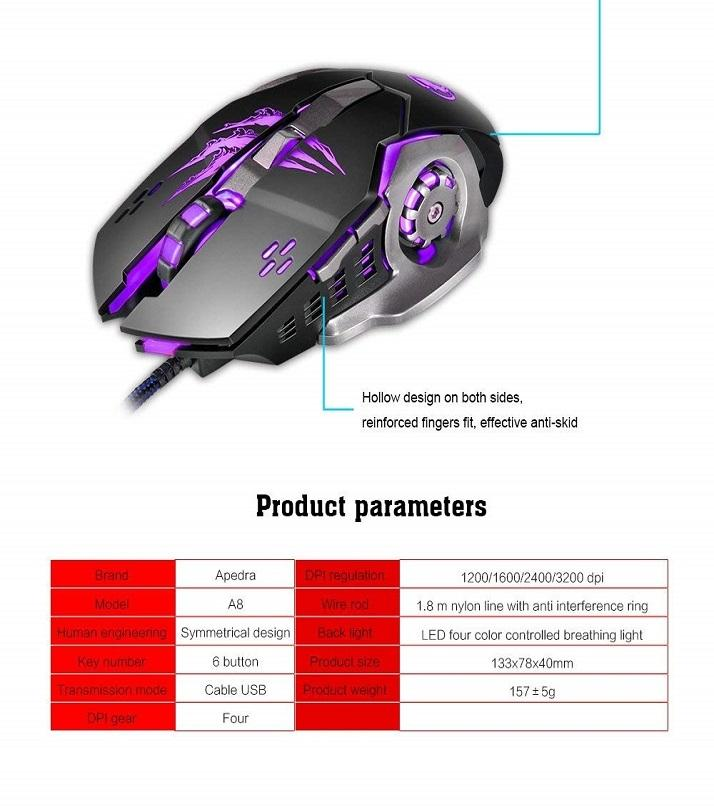 Wired Optical Pc Gaming Mouse Macro Definition Photoelectric Four-Color  Controllable Breathing Light Gaming Increase In Mice For Windows