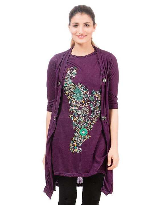 Purple Viscose Shrug For Women
